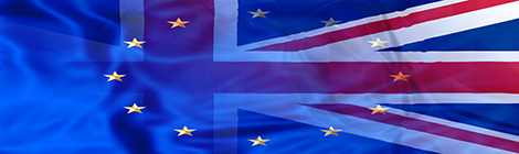 UK flag and European flag. Financial concept for bond and union